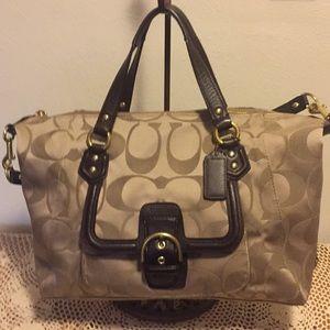 Coach Leather/Canvas Signature Shoulder Bag